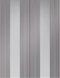 XL Joinery Forli Pre-Finished Light Grey Door Pair with Clear Glass