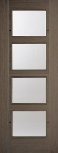 LPD Vancouver 4L Chocolate Grey Pre-Finished Clear Glazed Internal Door