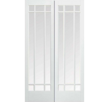 LPD Manhattan Pair Solid White Primed Internal Doors