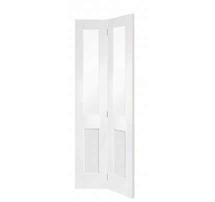 XL Joinery Malton Shaker Internal White Primed Bi-Fold Door with Clear Glass - 1936 x 379.5 x 35mm