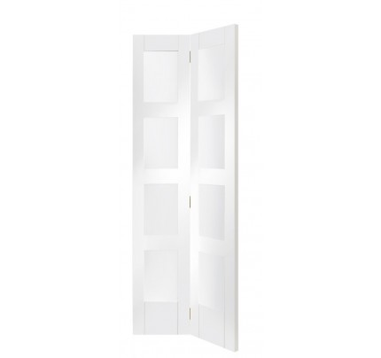 XL Joinery Shaker Bi-Fold Internal White Primed Door with Clear Glass- 1936 x 379.5 x 35mm