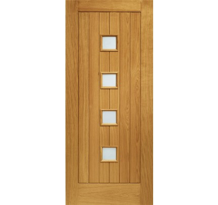 XL Joinery Siena Pre-Finished Double Glazed External Oak Door with Obscure Glass- 1981 x 838 x 44mm