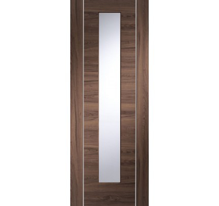 XL Joinery Forli Pre-Finished Internal Walnut Door with Clear Glass - 1981 x 762 x 35mm