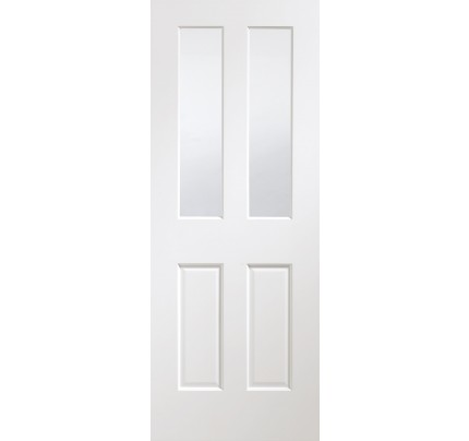 XL Joinery Malton Pre-Finished Internal White Door with Clear Bevelled Glass - 1981 x 762 x 35mm