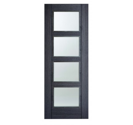 LPD Vancoucer 4L Ash Grey Pre-Finished Clear Glazed Internal Door