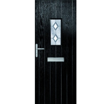 XL Joinery MTO - Ext Chancery Composite Door Set with Decorative Glass - Chrome Ironmongery