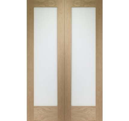 XL Joinery Pattern 10 Internal Oak Rebated Door Pair with Obscure Glass
