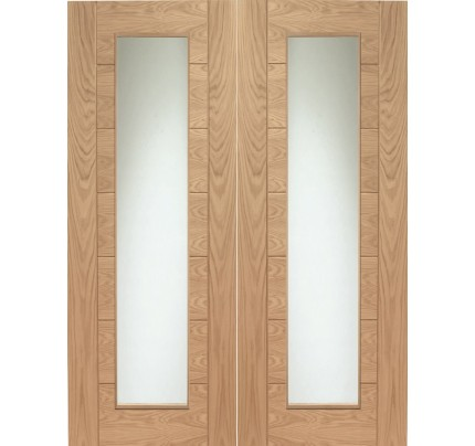 XL Joinery Palermo Internal Oak Rebated Door Pair with Clear Glass