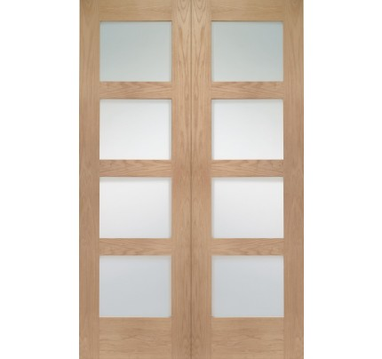 XL Joinery Shaker Internal Oak Rebated Door Pair with Clear Glass