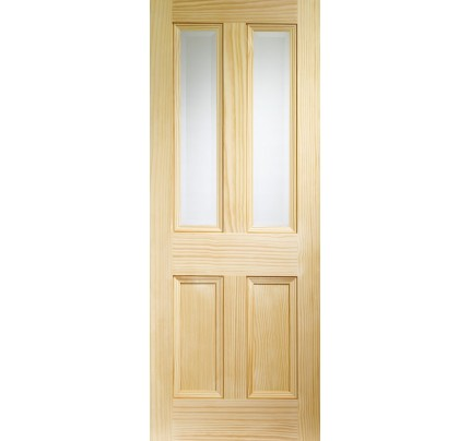 XL Joinery Edwardian 4 Panel Internal Vertical Grain Clear Pine Door with Clear Bevelled Glass