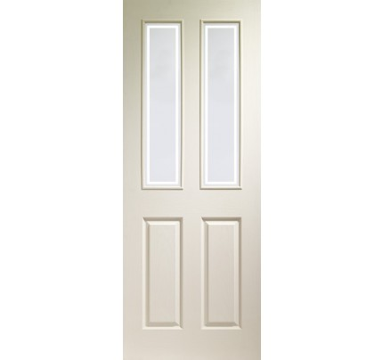 XL Joinery Victorian 4 Panel Internal White Moulded Door with Forbes Glass