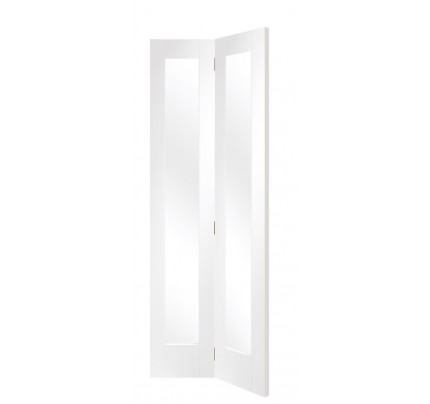 XL Joinery Pattern 10 Bi-Fold Internal White Primed Door with Clear Glass