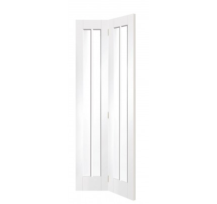 XL Joinery Worcester Internal White Primed Bi-Fold Door with Clear Glass - 1936 x 379.5 x 35mm