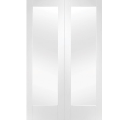 XL Joinery Pattern 10 White Primed Internal Rebated Door Pair with Clear Glass