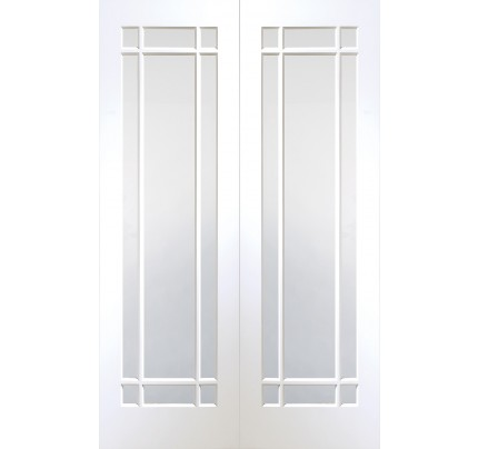 XL Joinery Cheshire Internal White Primed Rebated Door Pair with Clear Glass
