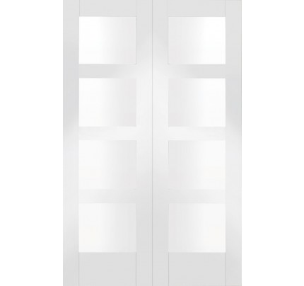 XL Joinery Shaker Internal White Primed Rebated Door Pair with Clear Glass