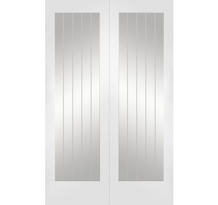 XL Joinery Suffolk 1 Light Internal White Primed Rebated Door Pair with Clear Glass
