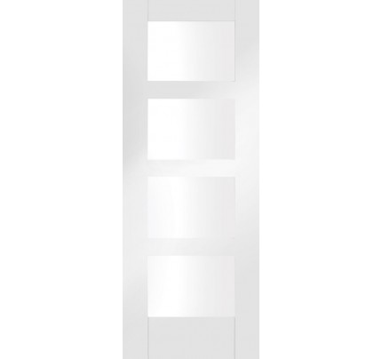 XL Joinery Shaker 4 Light Internal White Primed Door with Clear Glass