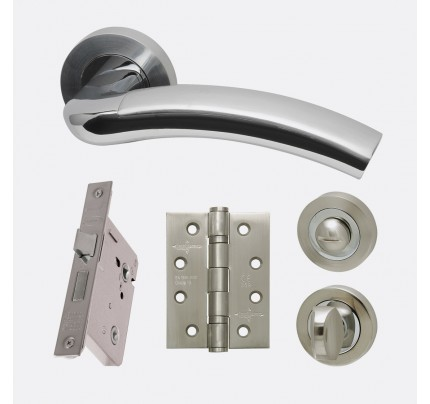 LPD Jupiter Polished Chrome & Satin Chrome Privacy Handle Pack