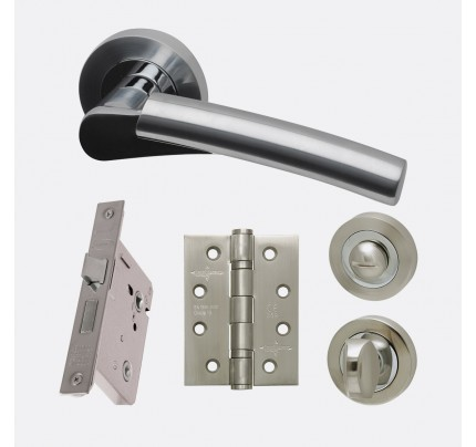 LPD Neptune Polished Chrome & Satin Chrome Privacy Handle Pack