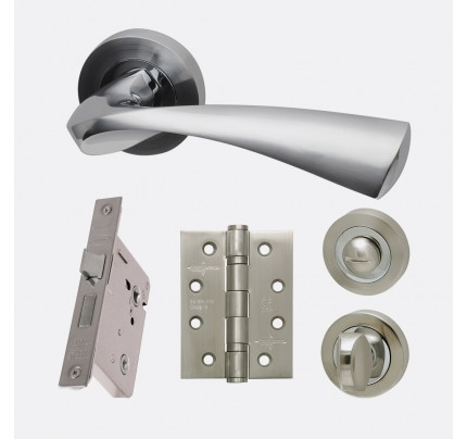 LPD Pluto Polished Chrome & Satin Chrome Privacy Handle Pack