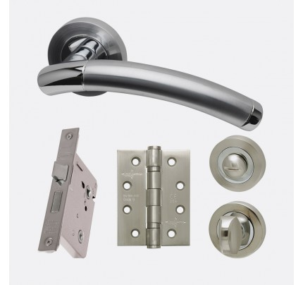 LPD Saturn Polished Chrome & Satin Chrome Privacy Handle Pack