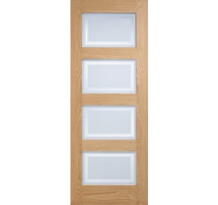 LPD 4L Contemporary Frosted Glazed Oak Un-Finished Internal Door