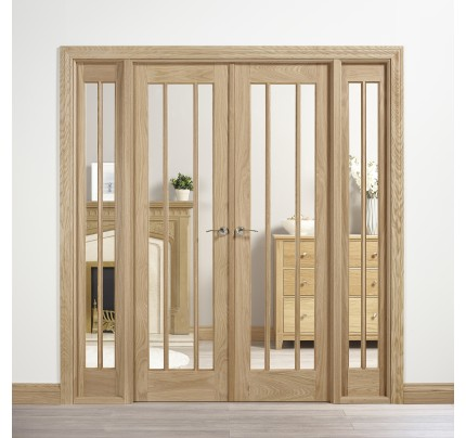 LPD Internal Oak Lincoln W6 Room Divider With Clear Glazing (Unfinished)