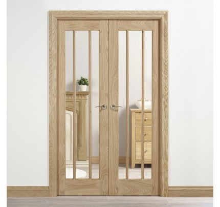 LPD Internal Oak Lincoln W4 Room Divider With Clear Glazing (Unfinished)