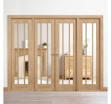 LPD Internal Oak Lincoln W8 Room Divider With Clear Glazing (Unfinished)