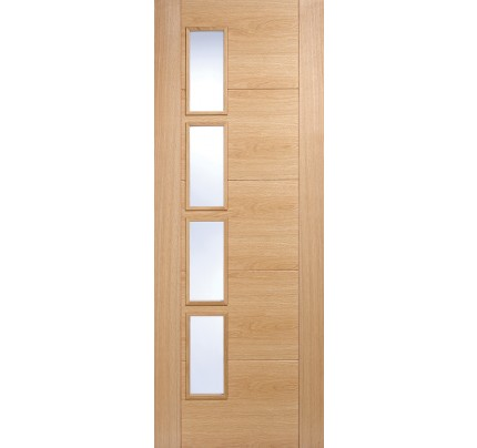 LPD Vancouver 4L Oak Offset Glazed Pre-Finished Internal Door