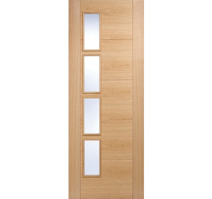 "Lpd Oak Vancouver Glazed 4L Clear Glass Offset Fire Door-1981 x 686 (27"")"