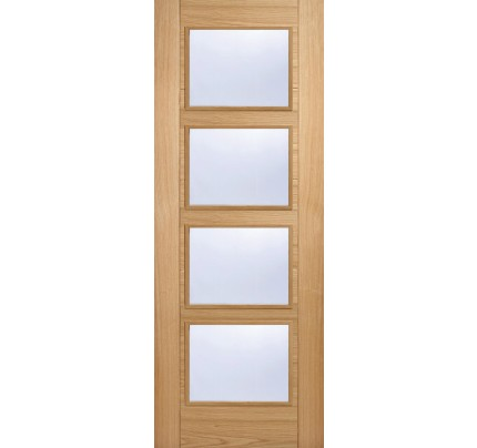 LPD Vancouver 4L Oak Clear Glazed Pre-Finished Internal Door