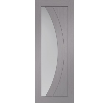 XL Joinery Salerno Pre-Finished Light Grey Door Pair with Clear Glass