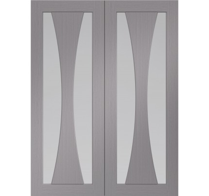 XL Joinery Verona Pre-Finished Light Grey Door Pair with Clear Glass