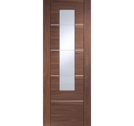 XL Joinery Portici Pre-finished Internal Walnut Door with Clear Etched Glass