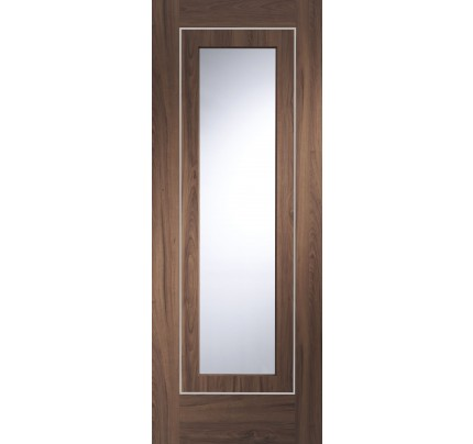 XL Joinery Varese Pre-Finished Internal Walnut Door with Clear Glass - 1981 x 762 x 35mm