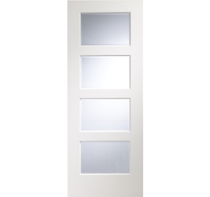 XL Joinery Severo Pre-Finished White Internal Door with Clear Bevelled Glass