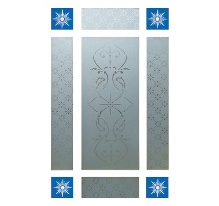 LPD Downham Clear With 4 Piece Blue Corners Glass Pack
