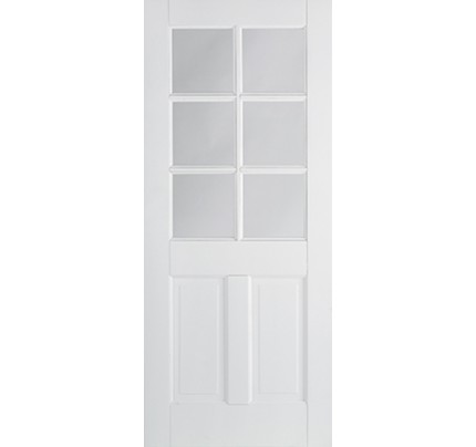 LPD Canterbury 2P/6L Glazed Primed White Solid Internal Door