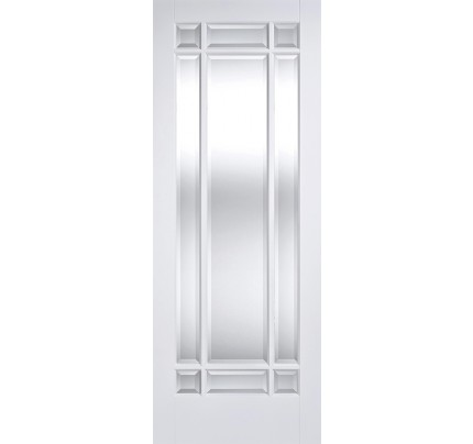 LPD Manhattan Solid White Primed Clear Bevelled Glazed Internal Door