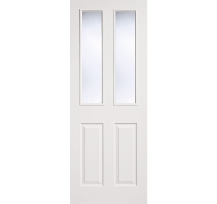 LPD Textured Pre-Glazed 2L/2P White Moulded Internal Doors