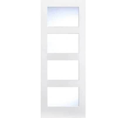 LPD Shaker 4 Light Glazed White Primed Internal Door